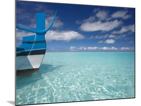 Bow of Boat in Shallow Water, Maldives, Indian Ocean-Papadopoulos Sakis-Mounted Photographic Print