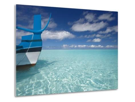 Bow of Boat in Shallow Water, Maldives, Indian Ocean-Papadopoulos Sakis-Metal Print