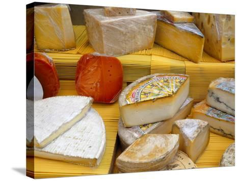 Assorted French Cheeses on a Market Stall, La Flotte, Ile De Re, Charente-Maritime, France, Europe-Richardson Peter-Stretched Canvas Print