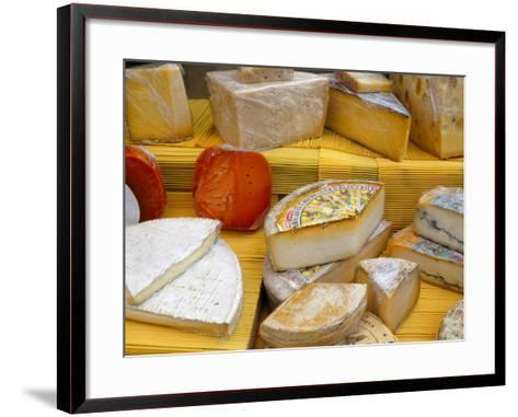 Assorted French Cheeses on a Market Stall, La Flotte, Ile De Re, Charente-Maritime, France, Europe-Richardson Peter-Framed Art Print