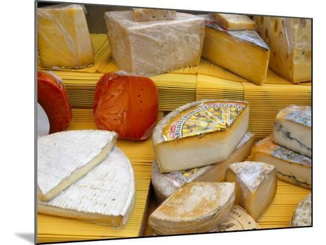 Assorted French Cheeses on a Market Stall, La Flotte, Ile De Re, Charente-Maritime, France, Europe-Richardson Peter-Mounted Photographic Print
