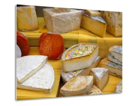 Assorted French Cheeses on a Market Stall, La Flotte, Ile De Re, Charente-Maritime, France, Europe-Richardson Peter-Metal Print