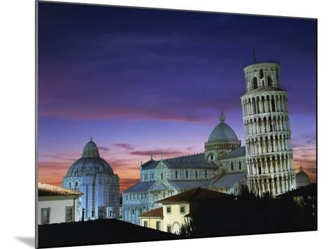 Leaning Tower, Duomo and Baptistery at Sunset in the City of Pisa, Tuscany, Italy--Mounted Photographic Print
