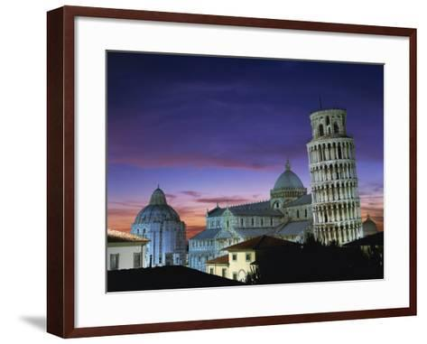 Leaning Tower, Duomo and Baptistery at Sunset in the City of Pisa, Tuscany, Italy--Framed Art Print