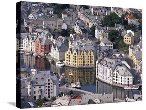 Aerial View over River Running Through Central Alesund, Norway, Scandinavia, Europe--Stretched Canvas Print