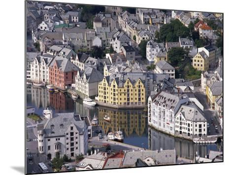 Aerial View over River Running Through Central Alesund, Norway, Scandinavia, Europe--Mounted Photographic Print