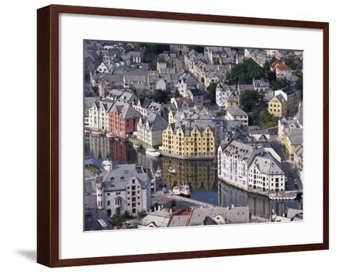 Aerial View over River Running Through Central Alesund, Norway, Scandinavia, Europe--Framed Art Print