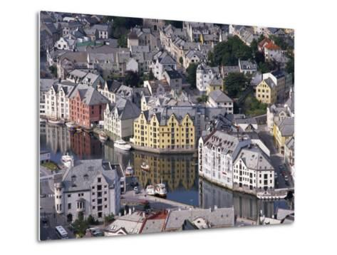 Aerial View over River Running Through Central Alesund, Norway, Scandinavia, Europe--Metal Print