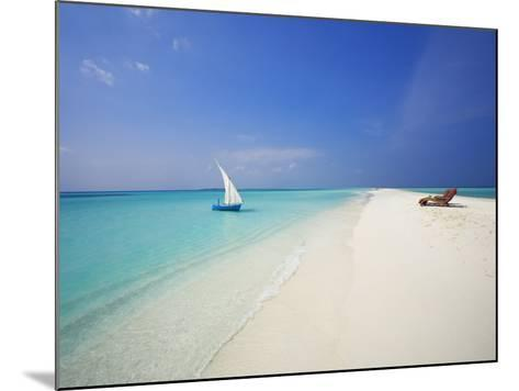 Dhoni and Lounge Chairs on Tropical Beach, Maldives, Indian Ocean-Papadopoulos Sakis-Mounted Photographic Print