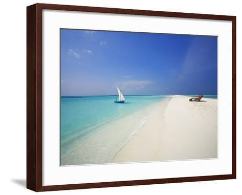 Dhoni and Lounge Chairs on Tropical Beach, Maldives, Indian Ocean-Papadopoulos Sakis-Framed Art Print