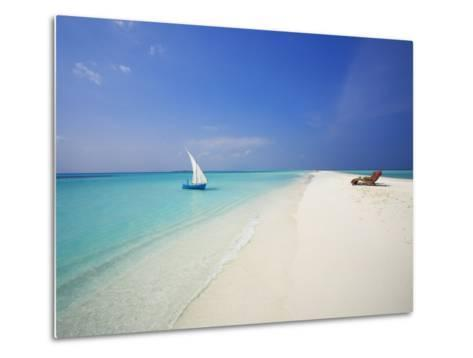 Dhoni and Lounge Chairs on Tropical Beach, Maldives, Indian Ocean-Papadopoulos Sakis-Metal Print
