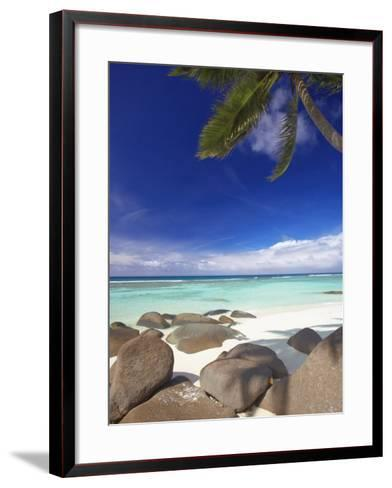 Rocks and Palm Tree on Tropical Beach, Seychelles, Indian Ocean, Africa-Papadopoulos Sakis-Framed Art Print