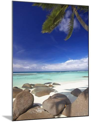 Rocks and Palm Tree on Tropical Beach, Seychelles, Indian Ocean, Africa-Papadopoulos Sakis-Mounted Photographic Print
