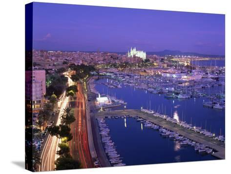 Evening Lights, with Boats in the Marina and Palma Cathedral across the Bay, Majorca--Stretched Canvas Print