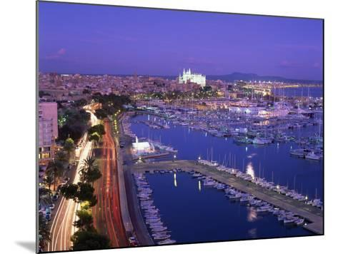 Evening Lights, with Boats in the Marina and Palma Cathedral across the Bay, Majorca--Mounted Photographic Print