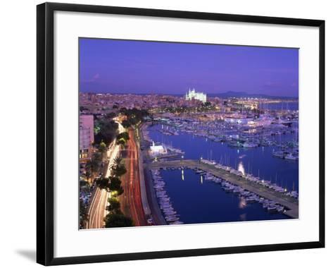 Evening Lights, with Boats in the Marina and Palma Cathedral across the Bay, Majorca--Framed Art Print