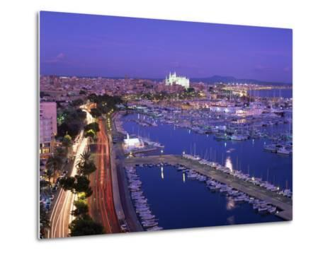 Evening Lights, with Boats in the Marina and Palma Cathedral across the Bay, Majorca--Metal Print