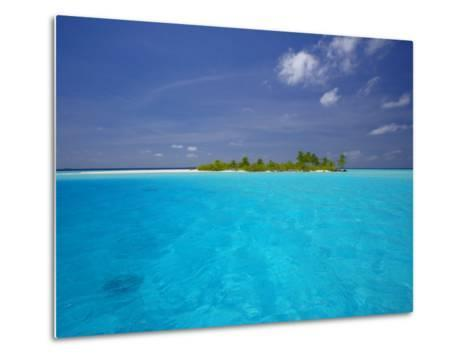 Tropical Island Surrounded by Lagoon, Maldives, Indian Ocean-Papadopoulos Sakis-Metal Print