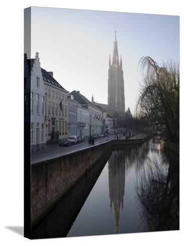 Looking South West Along Dijver, Towards the Church of Our Lady, Bruges, Belgium-White Gary-Stretched Canvas Print
