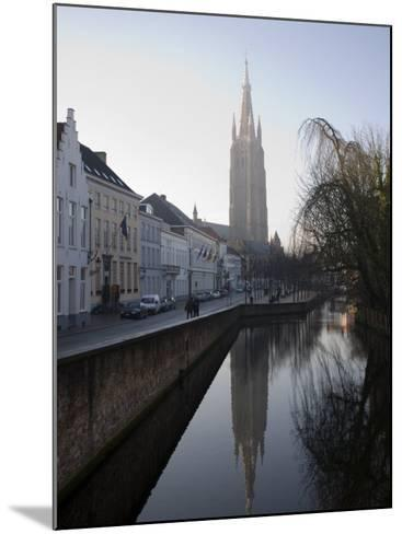 Looking South West Along Dijver, Towards the Church of Our Lady, Bruges, Belgium-White Gary-Mounted Photographic Print