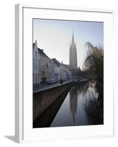 Looking South West Along Dijver, Towards the Church of Our Lady, Bruges, Belgium-White Gary-Framed Art Print