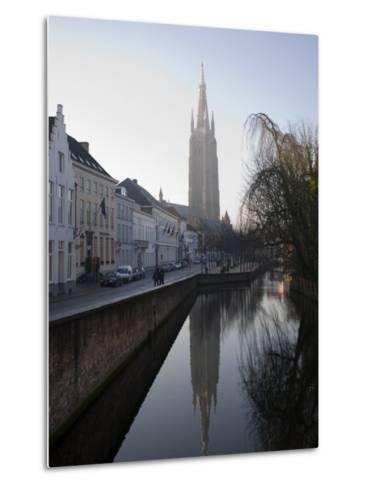 Looking South West Along Dijver, Towards the Church of Our Lady, Bruges, Belgium-White Gary-Metal Print
