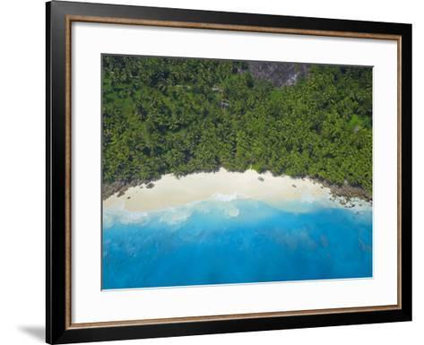 Aerial View of Anse Victorin Beach, Fregate Island, Seychelles, Indian Ocean, Africa-Papadopoulos Sakis-Framed Art Print