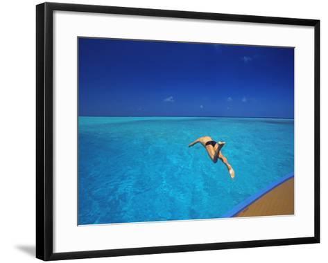 Man Jumping into Tropical Sea from Deck, Maldives, Indian Ocean-Papadopoulos Sakis-Framed Art Print