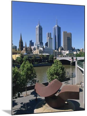 Sculpture on Yarra River Embankment and City Skyline, Melbourne, Victoria, Australia, Pacific-Hans Peter Merten-Mounted Photographic Print