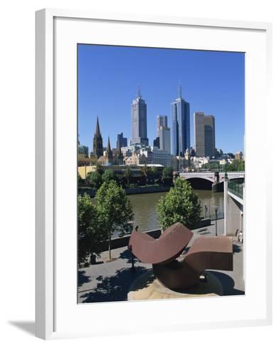 Sculpture on Yarra River Embankment and City Skyline, Melbourne, Victoria, Australia, Pacific-Hans Peter Merten-Framed Art Print