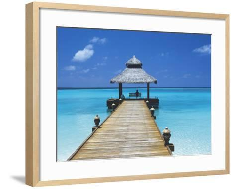 Young Woman Sitting on Bench at the End of Jetty, Maldives, Indian Ocean-Papadopoulos Sakis-Framed Art Print