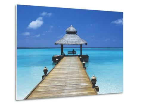 Young Woman Sitting on Bench at the End of Jetty, Maldives, Indian Ocean-Papadopoulos Sakis-Metal Print