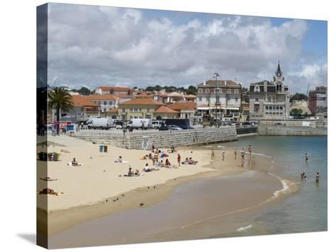 Beach and Harbour, Cascais, Portugal, Europe-Wogan David-Stretched Canvas Print