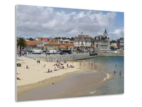 Beach and Harbour, Cascais, Portugal, Europe-Wogan David-Metal Print