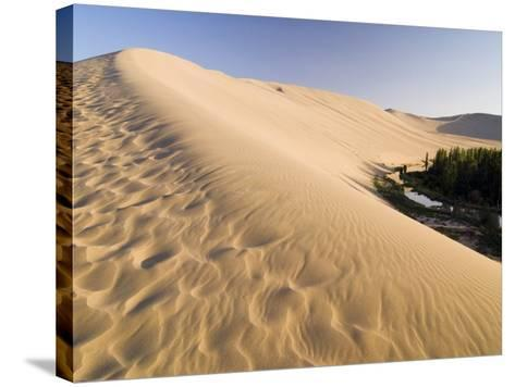 Sand Dunes and Oasis, Desert, Dunhuang, Gansu, China-Porteous Rod-Stretched Canvas Print