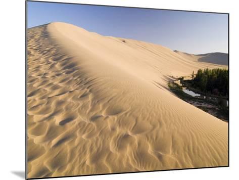 Sand Dunes and Oasis, Desert, Dunhuang, Gansu, China-Porteous Rod-Mounted Photographic Print