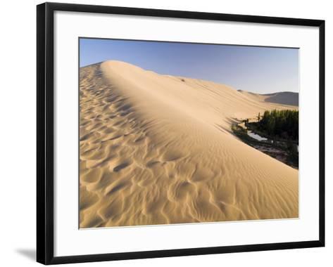 Sand Dunes and Oasis, Desert, Dunhuang, Gansu, China-Porteous Rod-Framed Art Print