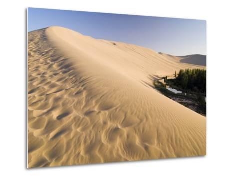 Sand Dunes and Oasis, Desert, Dunhuang, Gansu, China-Porteous Rod-Metal Print