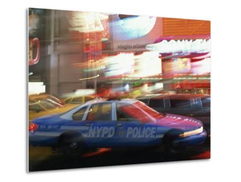 Nypd Police Car Speeding Through Times Square, New York City, New York, USA--Metal Print
