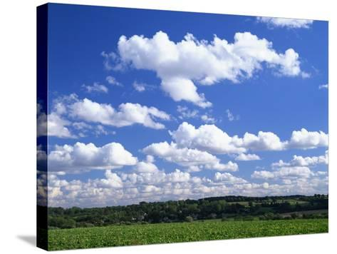 Blue Sky with Puffy White Clouds over Farmland in Lincolnshire, England, United Kingdom, Europe--Stretched Canvas Print
