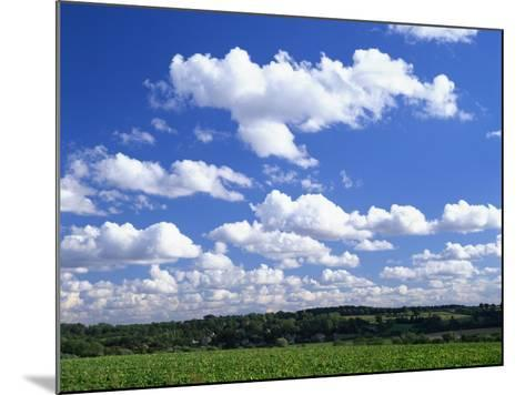 Blue Sky with Puffy White Clouds over Farmland in Lincolnshire, England, United Kingdom, Europe--Mounted Photographic Print
