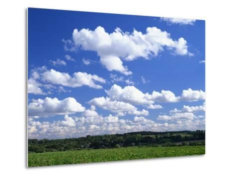 Blue Sky with Puffy White Clouds over Farmland in Lincolnshire, England, United Kingdom, Europe--Metal Print