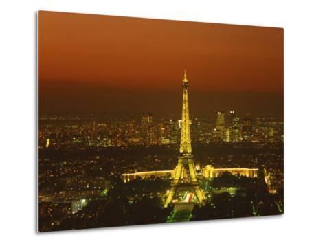 Eiffel Tower by Night, Paris, France, Europe--Metal Print