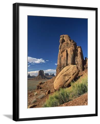 Rock Formations Caused by Erosion in a Desert Landscape in Monument Valley, Arizona, USA--Framed Art Print