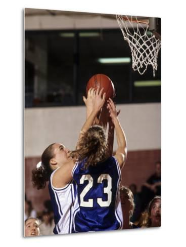 Female High School Basketball Players in Action During a Game--Metal Print