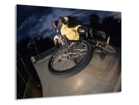 Bmx Cyclist Flys over the Vert--Metal Print