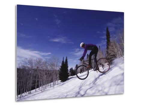 Mountain Biking on Snow--Metal Print
