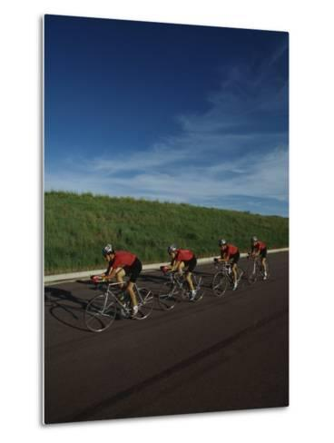 Road Cycling Team in Action--Metal Print