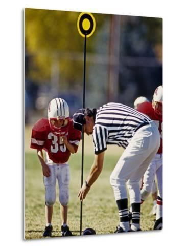 Referee Measuring for a First Down During a During a Pee Wee Football Game, Denver, Colorado, USA--Metal Print