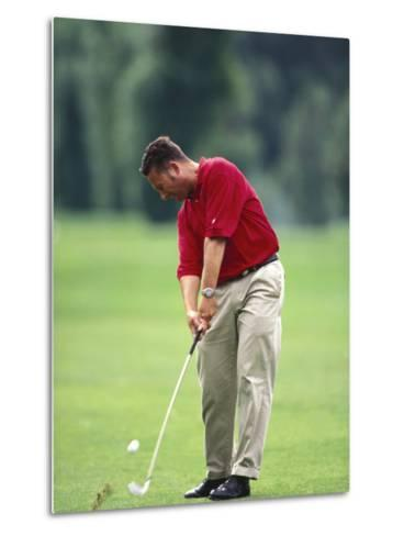 Male Golfer in Action-Chris Trotman-Metal Print